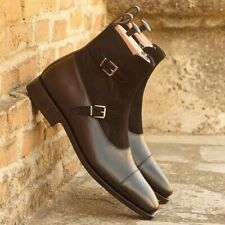 Hamdmade welted Octavian stap Boots mixed dark Brown Calf and suede.