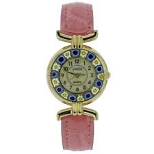 With Leather Band - Pink GlassOfVenice Murano Glass Millefiori Watch