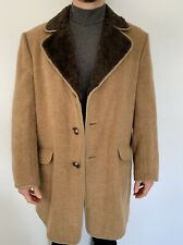 Mens Wool Coat 44 With Cashmere Blend Caramel Brown Guards Pea Coat
