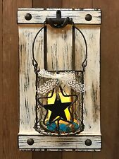 Jar CANDLE HOLDER Star Chicken Wire Distressed Rustic Wall Home Decor Glass