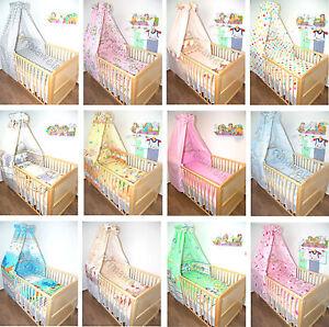 Baby Bettset 5T- mit Himmel, Bettwäsche, Nestchen, Himmel -Chiffon Vollstoff