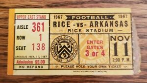Rice Owls Arkansas Razorbacks Football Ticket Stub 11/11 1967 Ronnie Lee South