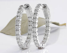 2.25Ct Natural Diamond 14K Solid White Gold Hoop Earrings