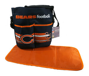 Chicago Bears Baby Diaper Bag w/ Adjustable Padded Shoulder Strap & Changing Pad