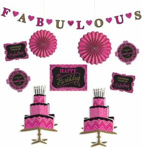 10pc FABULOUS Happy Birthday Set Garland Table Centrepiece Decorations Pink Kit