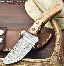 Handmade Damascus Steel Skinning Blade Full Tang Knife   Olive Wood