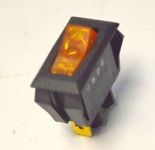 Defond 110VAC SPST, On/Off Illuminated Amber Appliance Rocker Switch.
