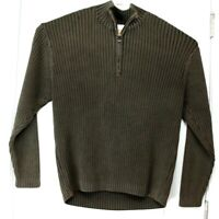 Large (L) TOMMY BAHAMA Brown Long Sleeve Quarter Zip Sweater 100% Cotton Mens