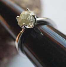 3.55 cts natural gray rough diamond ring, gray raw uncut diamond 925 silver ring