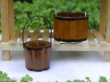 Miniature Dollhouse FAIRY GARDEN Accessories ~ Set of 2 Wood Buckets ~ NEW
