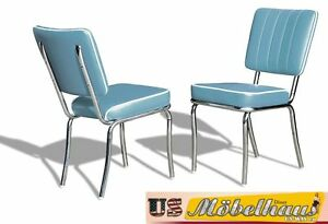 CO-25 Blue Bel Air Furniture 2 Chairs Diner Kitchen IN Style Der 50er Years
