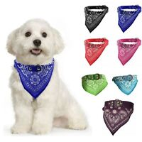 Adjustable Pet Dog Cat Neck Scarf Bandana with Leather Collar Neckerchief