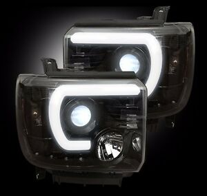"Recon 16 GMC sierra headlights smoke/black projector halo ""U"" bar"