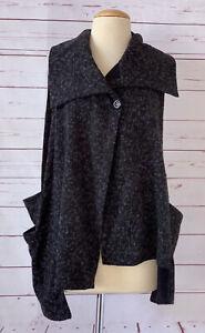 ALEMBIKA Size 1 Black Gray Knit Sweater Vest Draped Lagenlook Stretch