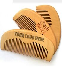 Customize Logo-Wholesale Peach Wood Pocket Beard Comb Wooden Hair Comb 10/lots