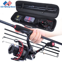 Sougayilang Portable Fishing Rod Set Carbon Fishing Rod Spinning Fishing Reel US