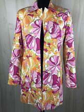 G Signature Women's Floral  Trench Coat Jacket Sz 6 Multicolor