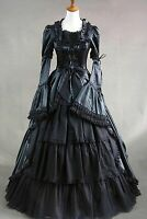 Victorian Lolita Black Removable Sleeves Lace Dress Cosplay Costume Halloween