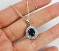Pretty Solid 925 Sterling Silver, Black Agate,CZ Pendant Necklace jewellery +box