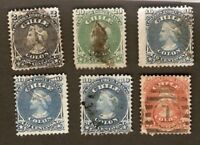 Chile LOT Sc16,17,18x3,19 used,17 MINT HR COLUMBUS FVF