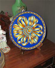 "Hermes porcelain tray, platter COCARDE DE SOIE  superb French china 12 1/4"""