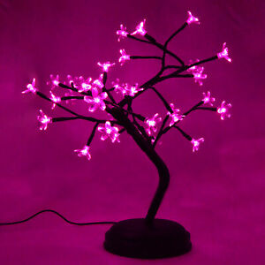 Pink Crystal Flower Bonsai Table Lamp with 9 Foot USB Cord - Battery or USB