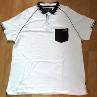 Armani Jeans Short Sleeved Polo Shirt Collar White Mens Size XXL