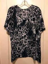 Lovely  Leopard Print Stretcy Slinky SS Top Fishtail Silver Sparkle Dots 2X NWT