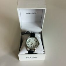 New Nine West Womens Watch Black Leather Band with Silver Tone Face New Battery