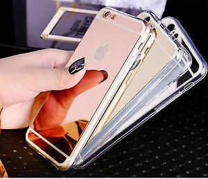 Luxury Mirror Protective TPU Gel Phone Case For iPhone 5 6 7 X Back Cover BOGOF