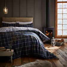 Catherine Lansfield Brushed Tartan Check 100 Cotton Duvet Cover Set Navy Single