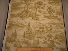 Cotton Fabric By The Yard Light Brown on Beige Toile Scenic Kaufman Quilting
