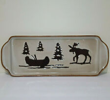 "Woodland Collection Serving Platter 18"" X 7"" Tray Handpainted"