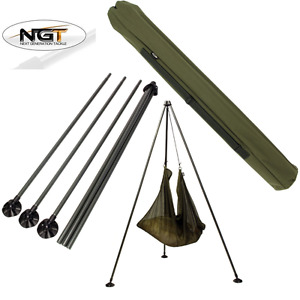 NGT CARP FISHING  WEIGH TRIPOD SYSTEM WITH LARGE MUD FEET AND CARRY CASE BAG