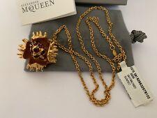 NIB Alexander McQueen Venus Flytrap Skull Crystal Long Chain Pendant Necklace