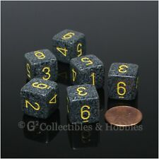 NEW 6 D6 Six Sided Dice Set Urban Camo Gray Black Speckled RPG Game Numbered D6s