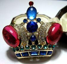 Vintage Design Royal CROWN BROOCH CRYSTAL Rhinestone Lucite Jewellery PIN