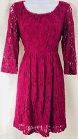 Kensie Lace Dress Maroon Size Small KS1K9072 Short Summer Flowy