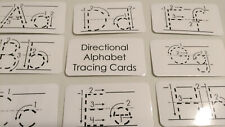 26 laminated Directional Alphabet hand held finger tracing flash cards for begin