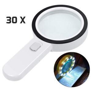 30 Fach Lupe mit 12LED Licht Leselupe Vergrößerungsglas Juwelierlupe Handlupe DE