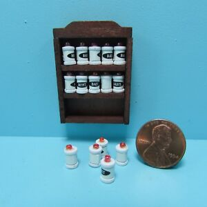 Dollhouse Miniature Wood Kitchen Wall Hanging Spice Rack 15 Spice Jars IM65211