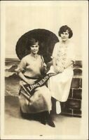 Long Beach CA Women in Studio Umbrella & Pennant Real Photo Postcard c1915