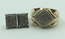 Men's Set: 10k Yellow Gold Diamond Cluster Ring w/ Matching Stud Earrings