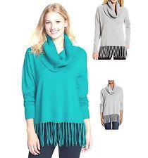 NWT $99.50 Michael Kors Fringe Hem Cowl Neck Sweater Tile Blue / Pearl Heather