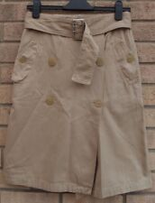 MEXX BELTED BUTTONED ARMY UTILITY MILITARY BEIGE A LINE COTTON RETRO SKIRT 6 8