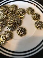 20. 19mm Gold Loop Bead Cap Bali Style Pewter Beads SALE #13