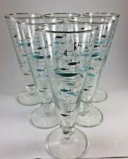 Vintage Atomic FISH Champagne Fluted Glasses MCM Set of Teal Blue Set 6 TEAL