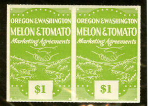 US Stamps Revenue VF OG NH Oregon Washington $1 Green Fruit Growers Co-op