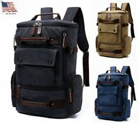 Mens Canvas Travel Backpack Womens Laptop Bag Hiking Rucksack Camping Outdoor