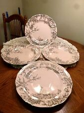 222 FIFTH ADELAIDE PINK SILVER BIRD FLORAL CHINA SALAD DESSERT PLATES SET OF 4